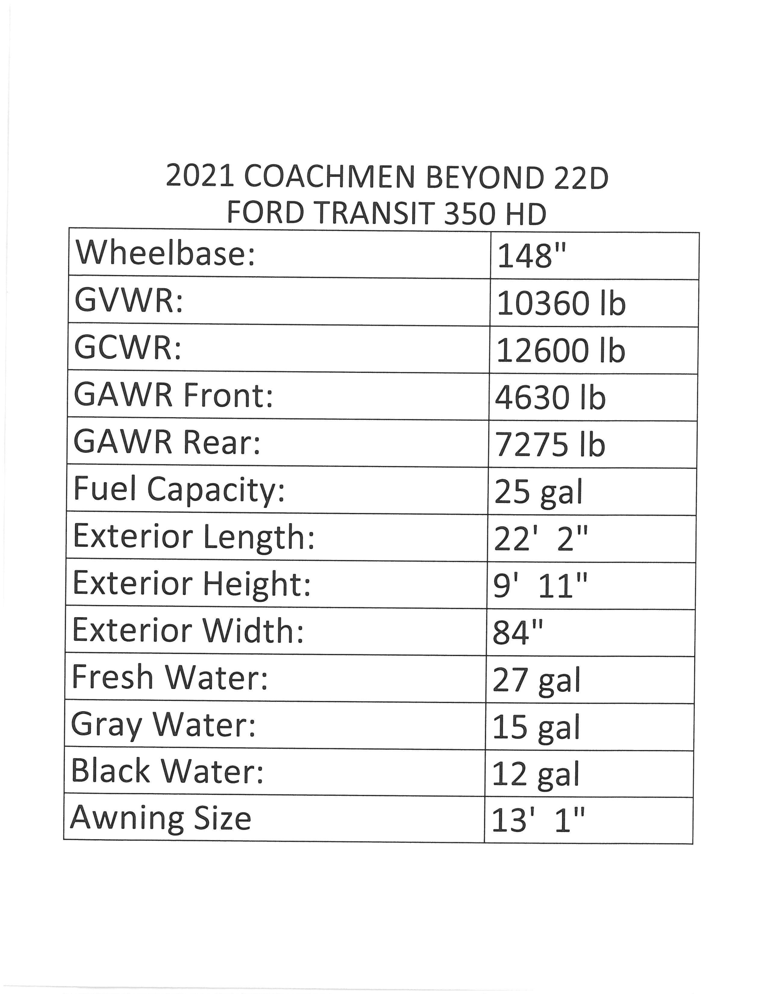 2021 Coachmen Beyond 22D RWD Thumbnail