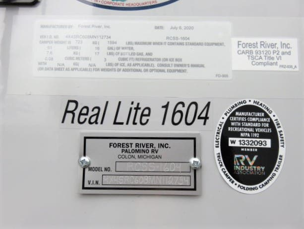 2021 Forest River Palomino Real Lite SS-1604 Thumbnail